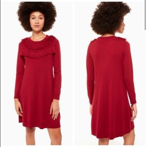 NEW Kate Spade Fringe Sweater Dress Red Size M